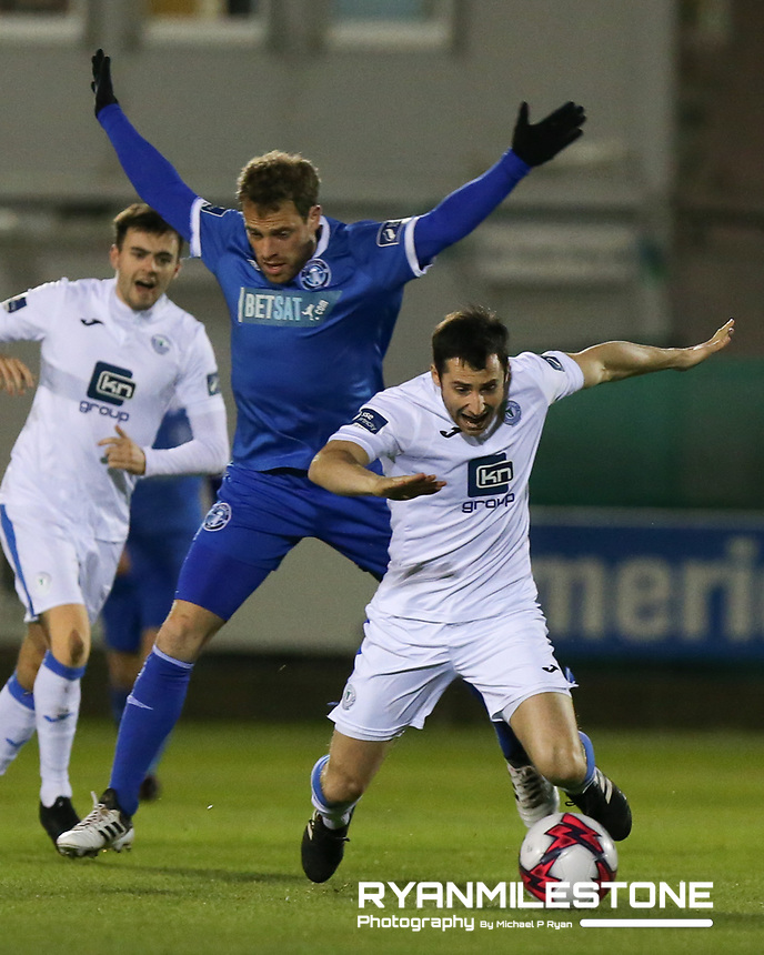 Gareth Harkin of Finn Harps in action against Barry Maguire of Limerick during the SSE Airtricity League Promotion / Relegation Play-off Final 2nd leg game between Limerick and Finn Harps on Friday 2nd November 2018 at Markets Field, Limerick. Mandatory Credit: Michael P Ryan.
