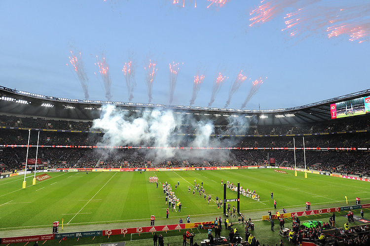 Big Game 9 fireworks mark the start of the Aviva Premiership Rugby match between Harlequins and Gloucester Rugby at Twickenham Stadium on Tuesday 27th December 2016 (Photo by Rob Munro/Stewart Communications)