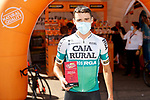 Álvaro Cuadros (ESP) Caja Rural-Seguros RGA most aggressive rider from yesterday's stage at sign on before the start of Stage 14 of La Vuelta d'Espana 2021, running 165.7km from Don Benito to Pico Villuercas, Spain. 28th August 2021.     <br /> Picture: Luis Angel Gomez/Photogomezsport   Cyclefile<br /> <br /> All photos usage must carry mandatory copyright credit (© Cyclefile   Luis Angel Gomez/Photogomezsport)