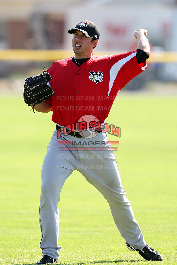 Tri-City ValleyCats pitcher Travis Blankenship #14 throws in the outfield before a game against the Batavia Muckdogs at Dwyer Stadium on July 15, 2011 in Batavia, New York.  Batavia defeated Tri-City 4-3.  (Mike Janes/Four Seam Images)