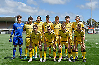 Wellington Phoenix players pose for a team photo before the ISPS Handa Men's Premiership - Wellington Phoenix v Team Wellington at Fraser Park, Wellington on Saturday 14 November 2020.<br /> Copyright photo: Masanori Udagawa /  www.photosport.nz