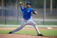 Toronto Blue Jays pitcher Yunior Hinojosa (55) delivers a pitch during an Instructional League game against the Pittsburgh Pirates on October 14, 2017 at the Englebert Complex in Dunedin, Florida.  (Mike Janes/Four Seam Images)
