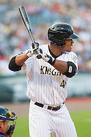 Michael Taylor (45) of the Charlotte Knights at bat against the Gwinnett Braves at BB&T Ballpark on August 6, 2014 in Charlotte, North Carolina.  The Knights defeated the Braves  12-10.  (Brian Westerholt/Four Seam Images)