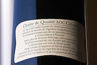 The Cahors quality chart on a back label Cahors Lot Valley France