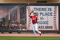 St. Louis Cardinals outfielder Dylan Carlson (3) catches a fly ball during a Major League Spring Training game against the Houston Astros on March 20, 2021 at Roger Dean Stadium in Jupiter, Florida.  (Mike Janes/Four Seam Images)