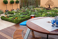 Vegetable Garden with deck, garden furniture, table, bench, peppers, wall, backyard, growing food at home
