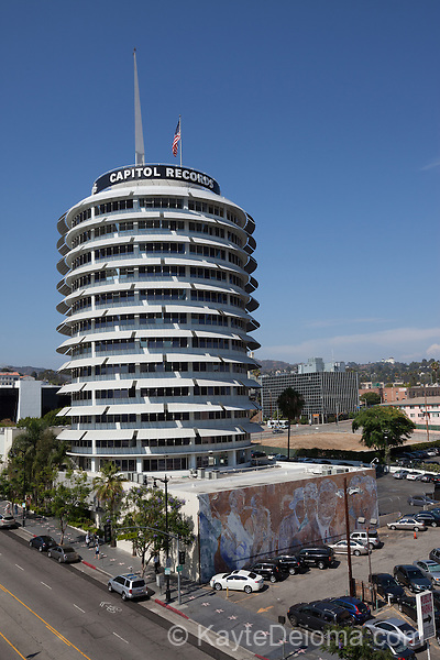The Capitol Records Building in Hollywood, Los Angeles, CA