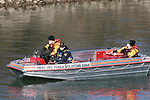 BOLZANO - ADIGE - ETSCH -Peter Neumair's Murder Investigation. Salorno, Salurn, Italy on February 13, 2021. In action rescue squad and Police Investigators using a boat with a sniffer dog to search for the body of the father of Benno Neumair in the Adige River.