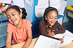 Education Preschool 3-4 year olds two girls friends laughing together