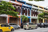 Ipoh, Malaysia.  Jalan Sultan Idris Shah Street Scene Showing Old Shop Houses Undergoing Refurbishment.