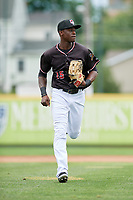Erie SeaWolves right fielder Daz Cameron (15) jogs back to the dugout during a game against the New Hampshire Fisher Cats on June 20, 2018 at UPMC Park in Erie, Pennsylvania.  New Hampshire defeated Erie 10-9.  (Mike Janes/Four Seam Images)