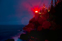 Lighthouse in night rain storm, Bass Harbor, Maine, ME, USA