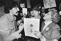 Confrontation de partisans entre  federaliste et souverainiste 1980 a Montreal