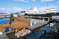 Fish Sculpture and MS Norgoma (Museum Ship) in Roberta Bondar Park, along St. Mary's River Waterfront, Sault Ste. Marie, ON, Ontario, Canada