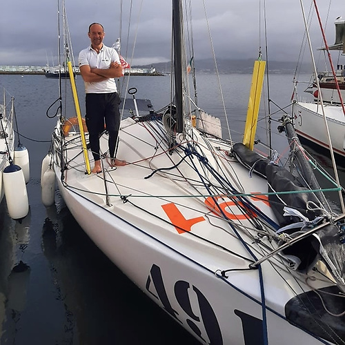 Safe for the moment - Yannick Lemonnier aboard his Mini 650 Port of Galway in Baiona, northwest Spain