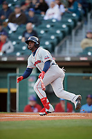 Pawtucket Red Sox center fielder Rusney Castillo (38) bats during a game against the Buffalo Bisons on May 19, 2017 at Coca-Cola Field in Buffalo, New York.  Buffalo defeated Pawtucket 7-5 in thirteen innings.  (Mike Janes/Four Seam Images)