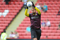 Swansea City's Kristoffer Nordfeldt during the pre-match warm-up for the Sky Bet Championship match between Sheffield United and Swansea City at Bramall Lane, Sheffield, England, UK. Saturday 04 August 2018