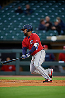 Columbus Clippers first baseman Nellie Rodriguez (27) bats during a game against the Louisville Bats on May 1, 2017 at Louisville Slugger Field in Louisville, Kentucky.  Columbus defeated Louisville 6-1  (Mike Janes/Four Seam Images)