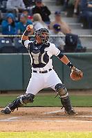 Everett Aquasox catcher Johan Quevedo (16) makes a throw to second base during a game against the Eugene Emeralds at Everett Memorial Stadium in Everett, Washington.  Eugene defeated Everett 7-5. (Ronnie Allen/Four Seam Images)