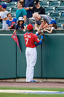 Buffalo Bisons Anthony Alford (7) signs autographs for fans before a game against the Lehigh Valley IronPigs on June 23, 2018 at Coca-Cola Field in Buffalo, New York.  Lehigh Valley defeated Buffalo 4-1.  (Mike Janes/Four Seam Images)