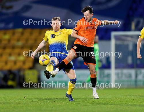 St Johnstone v Dundee United…10.11.20   McDiarmid Park      BetFred Cup<br />Liam Craig and Marc McNulty<br />Picture by Graeme Hart.<br />Copyright Perthshire Picture Agency<br />Tel: 01738 623350  Mobile: 07990 594431