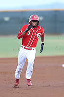 Satchel McElroy (3) of the AZL Reds runs the bases during a game against the AZL Brewers at Cincinnati Reds Spring Training Complex on July 5, 2015 in Goodyear, Arizona. Reds defeated the Brewers, 9-4. (Larry Goren/Four Seam Images)
