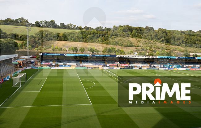 General view of the stadium during the Carabao Cup 2nd round match between Wycombe Wanderers and Forest Green Rovers at Adams Park, High Wycombe, England on 28 August 2018. Photo by Andy Rowland.