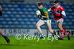 Cian McMahon, Kerry in action against Daragh Murray, Cork during the Munster Minor Semi-Final between Kerry and Cork in Austin Stack Park on Tuesday evening.