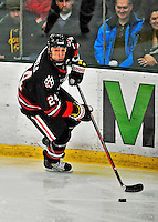28 January 2012: Northeastern University Huskies' forward Drew Daniels, a Junior from Suffern, NY, in action against the University of Vermont Catamounts at Gutterson Fieldhouse in Burlington, Vermont. The Huskies defeated the Catamounts 4-2 in the second game of their 2-game Hockey East weekend series. Mandatory Credit: Ed Wolfstein Photo