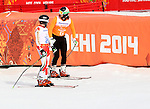 Mac Marcoux and Robin Femy, Sochi 2014 - Para Alpine Skiing // Para-ski alpin.<br /> Mac Marcoux and guide Robin Femy ski to a bronze medal in the mens visually impaired event // Mac Marcoux et guide Robin Femy skient vers une médaille de bronze chez les hommes ayants un déficience visuelle. 08/03/2014.