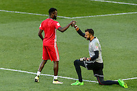 Harrison, NJ - Wednesday Aug. 03, 2016: Kemar Lawrence, Kyle Reynish during a CONCACAF Champions League match between the New York Red Bulls and Antigua at Red Bull Arena.