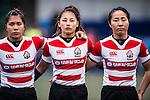 Seina Saito (Captain) (r) and Misaki Suzuki of Japan (c) during the Womens Rugby World Cup 2017 Qualifier match between Hong Kong and Japan on December 17, 2016 in Hong Kong, Hong Kong. Photo by Marcio Rodrigo Machado / Power Sport Images
