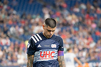 FOXOBOROUGH, MA - AUGUST 21: Gustavo Bou #7 of New England Revolution disappointed at a missed shot on goal during a game between FC Cincinnati and New England Revolution at Gillette Stadium on August 21, 2021 in Foxoborough, Massachusetts.
