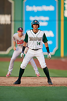 Fort Wayne TinCaps Justin Lopez (14) leads off during a Midwest League game against the Peoria Chiefs on July 17, 2019 at Parkview Field in Fort Wayne, Indiana.  Fort Wayne defeated Peoria 6-2.  (Mike Janes/Four Seam Images)