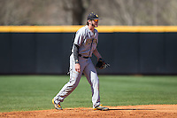 Kennesaw State Owls shortstop Kal Simmons (10) on defense against the Winthrop Eagles at the Winthrop Ballpark on March 15, 2015 in Rock Hill, South Carolina.  The Eagles defeated the Owls 11-4.  (Brian Westerholt/Four Seam Images)