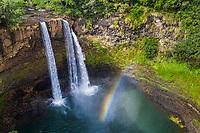 Wailua Falls and a rainbow, Kawaihau district of Kaua'i.
