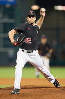 Texas Tech Red Raiders starting pitcher Chris Sadberry #42 delivers a pitch to the plate against the Rice Owls at Minute Maid Park on March 2, 2014 in Houston, Texas.  The Red Raiders defeated the Owls 3-2 to finish the tournament 2-1.  (Brian Westerholt/Four Seam Images)
