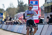 World Champion Lucinda Brand (NED/Baloise - Trek Lions) crossing the finish line as 2nd<br /> <br /> Elite Women's Race<br /> 2021 UCI cyclo-cross World Cup - Zonhoven (BEL)<br /> <br /> ©kramon