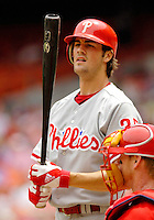 11 June 2006: Cole Hamels, pitcher for the Philadelphia Phillies, makes a plate appearance during a game against the Washington Nationals at RFK Stadium, in Washington, DC. The Nationals shut out the visiting Phillies 6-0 to take the series three games to one...Mandatory Photo Credit: Ed Wolfstein Photo..