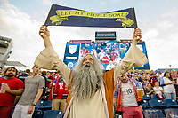 NASHVILLE, TN - SEPTEMBER 5: 'Soccer Moses' holds up a sign before a game between Canada and USMNT at Nissan Stadium on September 5, 2021 in Nashville, Tennessee.
