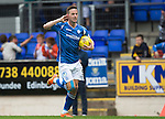 St Johnstone v Motherwell...22.08.15  SPFL   McDiarmid Park, Perth<br /> Steven MacLean's celebration is aimed at his father who had been giving him grief<br /> Picture by Graeme Hart.<br /> Copyright Perthshire Picture Agency<br /> Tel: 01738 623350  Mobile: 07990 594431