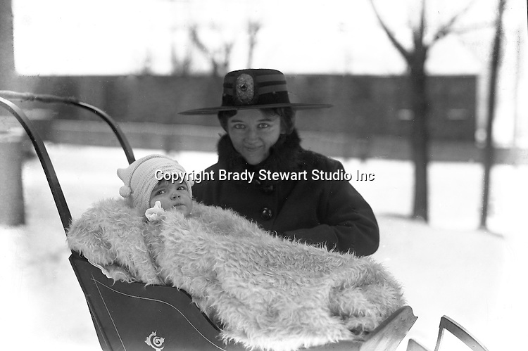 Wilkinsburg PA:  Sarah and Helen Stewart out for a walk in the new sleigh.