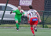 Genk's goalkeeper Anouk Vereecke (12) makes a save  during a female soccer game between the women teams of Zulte Waregem A Dames and KRC Genk Ladies B on the 1/16 th qualifying round for the Belgian Womens Cup 2020  2021 , on saturday 26 th of September 2020  in Zulte , Belgium . PHOTO SPORTPIX.BE | SPP | SEVIL OKTEM