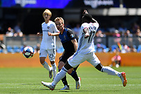 SAN JOSE, CA - JUNE 8: Jackson Yueill passes the ball under pressure from Francis Atuahene during a game between FC Dallas and San Jose Earthquakes at Avaya Stadium on June 8, 2019 in San Jose, California.