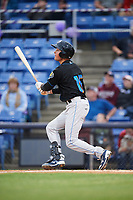 Akron RubberDucks designated hitter Tyler Krieger (15) hits a home run during a game against the Binghamton Rumble Ponies on May 12, 2017 at NYSEG Stadium in Binghamton, New York.  Akron defeated Binghamton 5-1.  (Mike Janes/Four Seam Images)