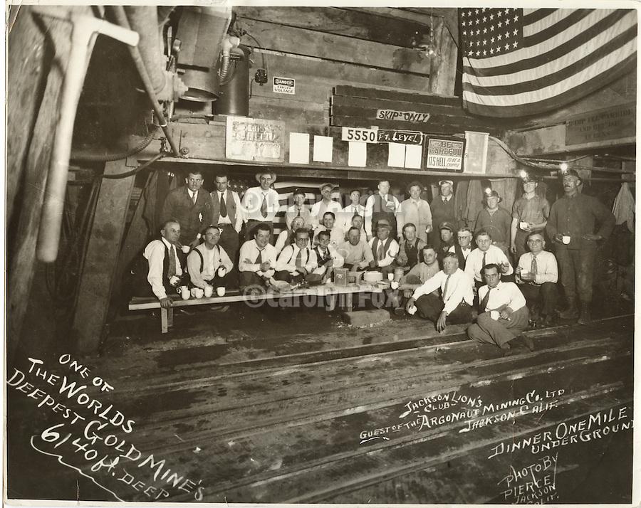 Historic photo of the Jackson Lion's Club dinner one mile underground in the Argonaut Mine in