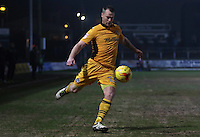 Mike Flynn of Newport County crosses the ball into the box during the Sky Bet League Two match between Newport County and Grimsby Town at Rodney Parade, Newport, Wales, UK. Tuesday 14 February 2017