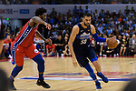 Salah Mejri of Dallas Mavericks (R) in action during the NBA China Games 2018 match between Dallas Mavericks and Philadelphia 76ers at Universiade Center on October 08 2018 in Shenzhen, China. Photo by Marcio Rodrigo Machado / Power Sport Images