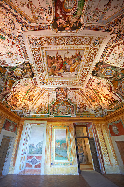 Room of Hercules ( Sala di Ercole ) Celebrating the deeds of Hercules, the hero of Tivoli, the renaissance frecoes were carried out by 6 assistants of Girolamo Muziano (1532-1592). The central ceiling panel frescoes depict the epilogue of the myth, the Apotheosis of Hercules : the hero is welcomed by the 12 major divinities of Olympus in thanks for his labours. Villa d'Este, Tivoli, Italy. A UNESCO World Heritage Site.
