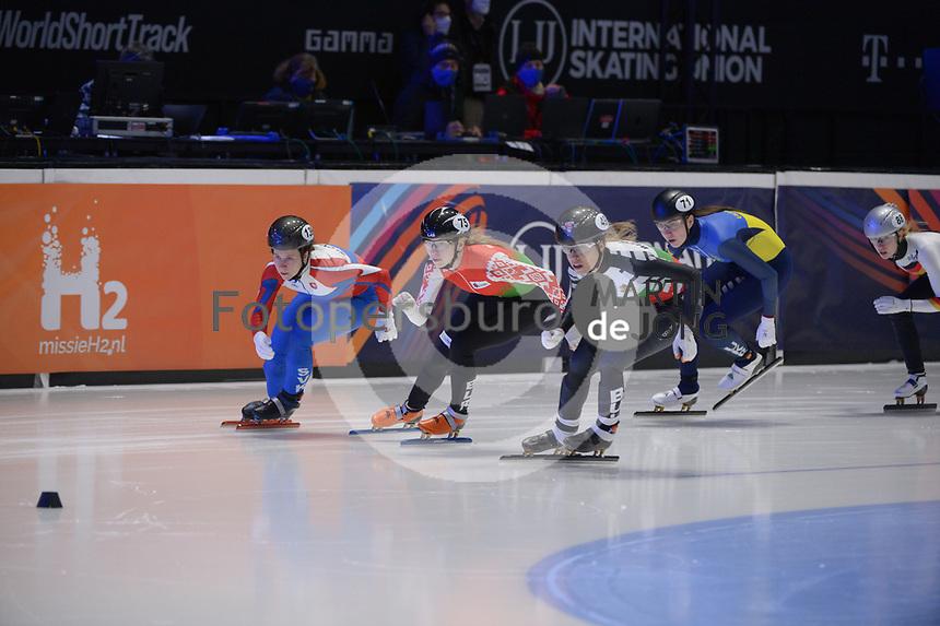 SPEEDSKATING: DORDRECHT: 06-03-2021, ISU World Short Track Speedskating Championships, RF 500m Ladies, Alica Porubska (SVK), Volha Talayeva (BLR), Mariya Dolgopolova (UKR), Katrin Manoilova (BUL), ©photo Martin de Jong
